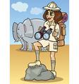 cute woman on african safari vector image
