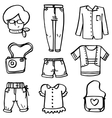 Doodle of women clothes set vector image