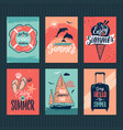 summer tropical postcards or retro posters with vector image