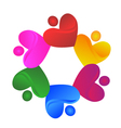 Teamwork charity hearts logo vector image