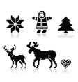 Christmas nordic pattern icons set vector image