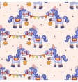 Funny circus pattern with horses vector image