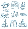 Hand drawn doodle sketch travel icons summer vector image