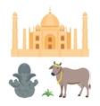 India taj mahal and budda elephant travel vector image