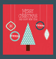 merry christmas and happy new year tree pine and vector image