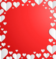 Valentines Day frame with cut paper hearts vector image