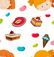 Seamless background of girls and candy vector image