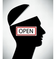 Conceptual of a open minded man A man with an open vector image