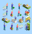 supermarket isometric elements collection vector image