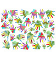 colorful painting hands seamless background vector image