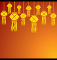 diwali greeting background with hanging lamps vector image