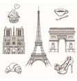 Hand drawn Paris symbols vector image vector image