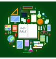 Back to School Background with Education Icon Set vector image