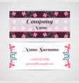business card doodle flowers vector image