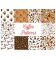 Coffee drink with dessert seamless patterns set vector image