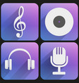 Flat icon set sound music for Web and Application vector image