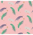 Green blue banana palm leaves pink seamless vector image