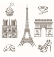 Hand drawn Paris symbols vector image