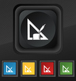 Pencil and ruler icon symbol Set of five colorful vector image