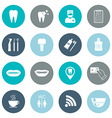 Set of dental icons Silhouette White Flat design vector image