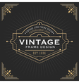 Vintage line frame design for label vector image vector image