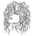 girl with flowing curly hair vector image