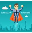 Cartooned Superhero Businessman Graphic Design vector image