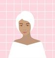 Woman in bathroom vector image