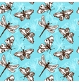 Butterflies and dragonflies seamless pattern vector image
