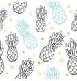 doodle black blue summer tropical seamless vector image