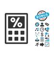 Tax Calculator Flat Icon with Bonus vector image