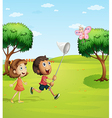 Kids trying to catch a butterfly vector image vector image