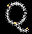Abstract star Q alphabet character vector image