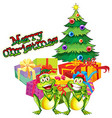Christmas theme with tree and present boxes vector image