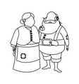 couple mr and mrs santa claus characters outline vector image