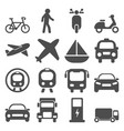 transportation travels icons set vector image