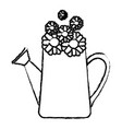monochrome blurred silhouette of watering can and vector image