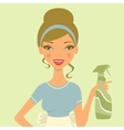 Beautiful woman cleaning with detergent spray vector image vector image