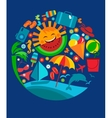 template of summer icons on blue vector image vector image