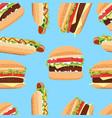 fast food seamless pattern hamburger and hot dog vector image