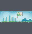 smart city navigation big city and suburb tablet vector image
