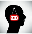Conceptual of a man Brains for sale vector image vector image