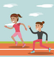 cartoon girl running athletic physical education vector image