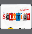 word solution made from newspaper letters vector image