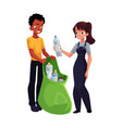 men collect plastic bottles into garbage bags vector image