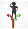 Confused man for right choice stock vector image