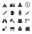 Silhouette tourism and hiking icons vector image vector image