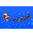 background with Santa Claus flying his sleigh vector image