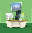 cartoon office desk chair monitor phone scene set vector image