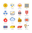 digital icons connected to cryptocurrency isolated vector image